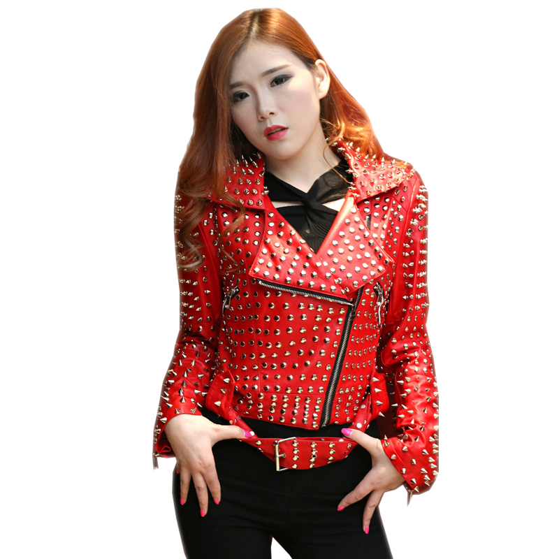 steelsir 2019 Spring New Female Black/Red   Leather   Jacket Women Faux   Leather   PU Punk Style Rivet Studded Epaulet Motorcycle Coats