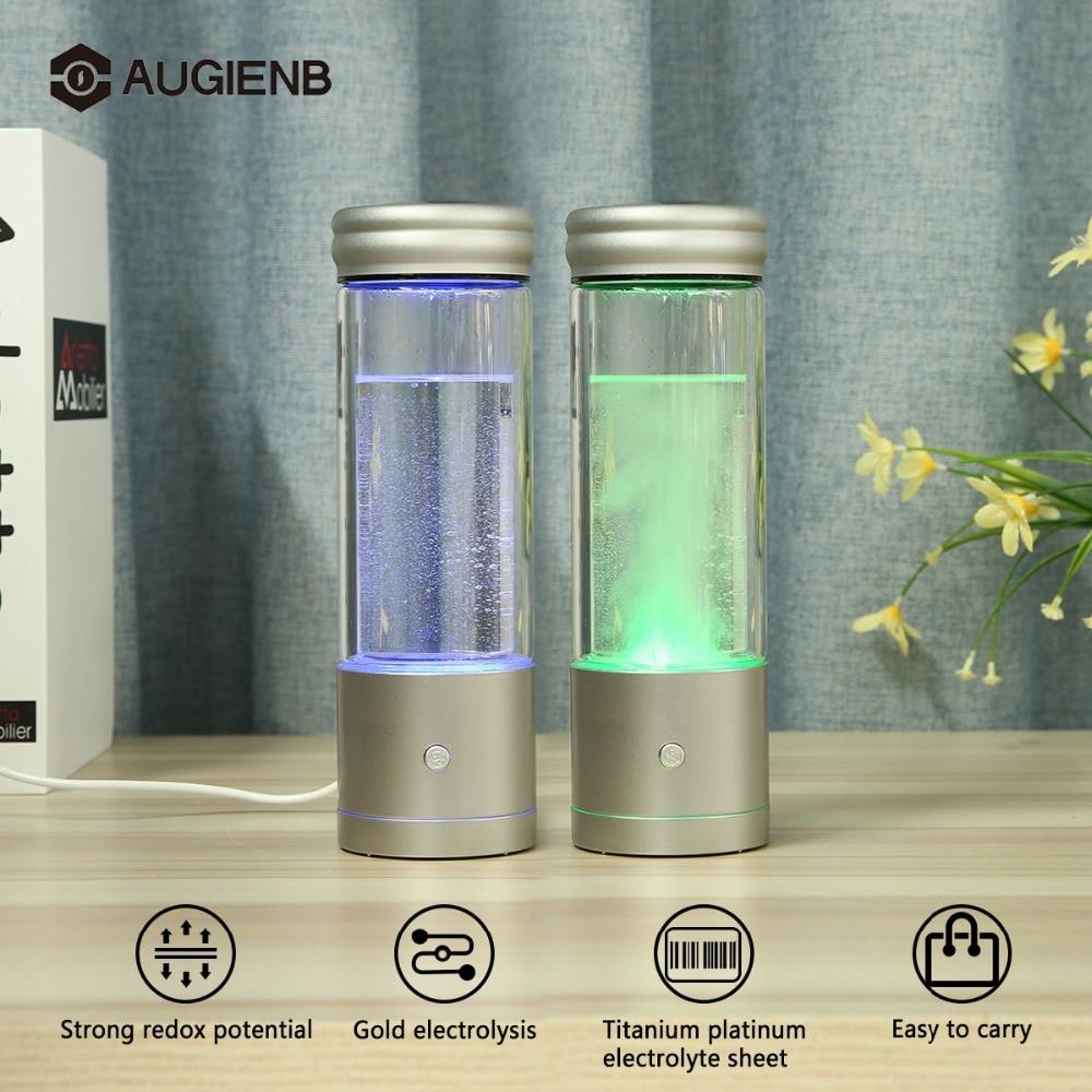 Augienb 350ML Hydrogen Rich Water Bottle Ionizer Generator Healthy Anti Aging USB Hydrogen Water Bottle Alkaline