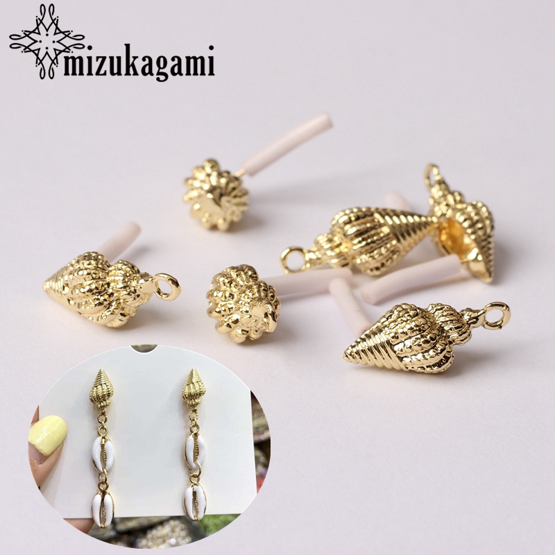 Zinc Alloy Golden Mini Conch Earrings Base Connectors 6pcs/lot For Bohemia Beach Vacation Earrings Jewelry Making Accessories