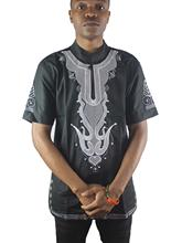 Africa Ethnic Both Side Embroidery Men`s Dashiki Tops Slit Folk Shirts for Wedding