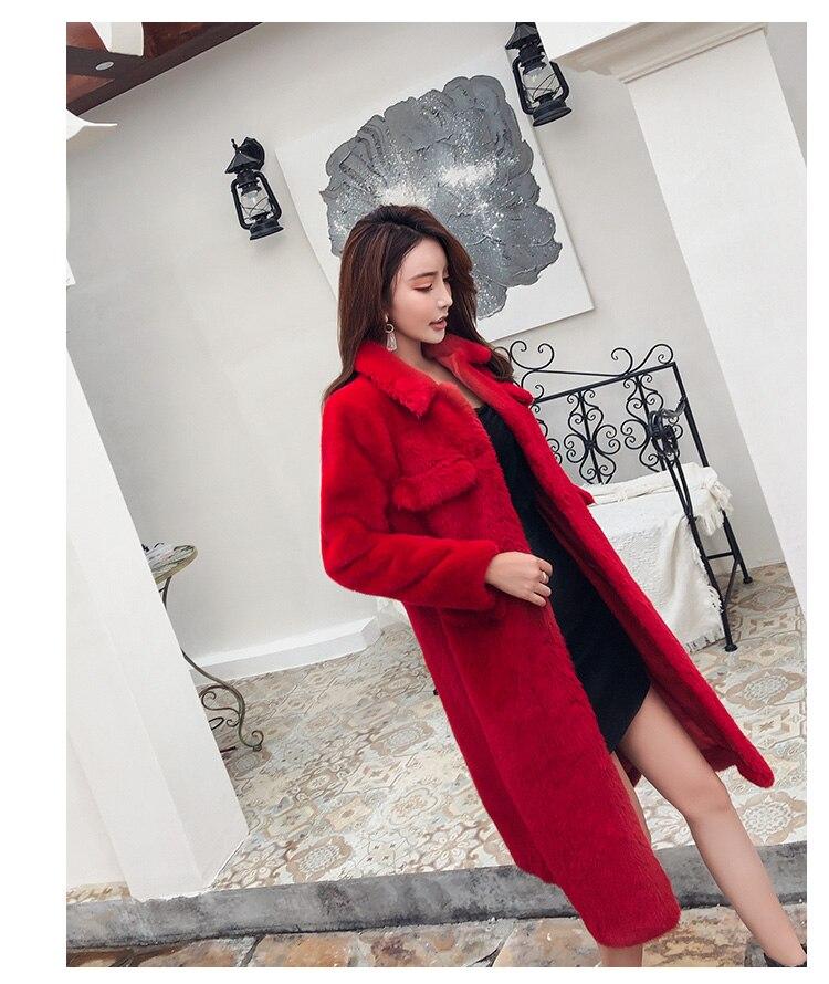 Col Femme Piste Épaissir Lapin Lâche Long De Femmes Manches Fausse 2019 Hiver Manteau Revers Longues Fourrure Ceinture Rouge Chaud Outwerwear fYav56n6x