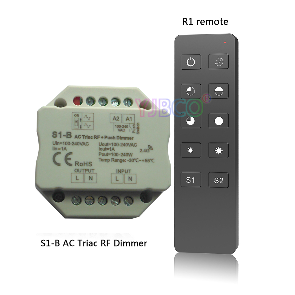 S1-B 2.4GHz RF Wireless Remote R1 100-240VAC Input voltage;Output 100-240VAC 1A Push Dimmer Switch Led Triac Dimmer Controller delta temperature controller dta4896c1 input 100 240vac output 4 20ma