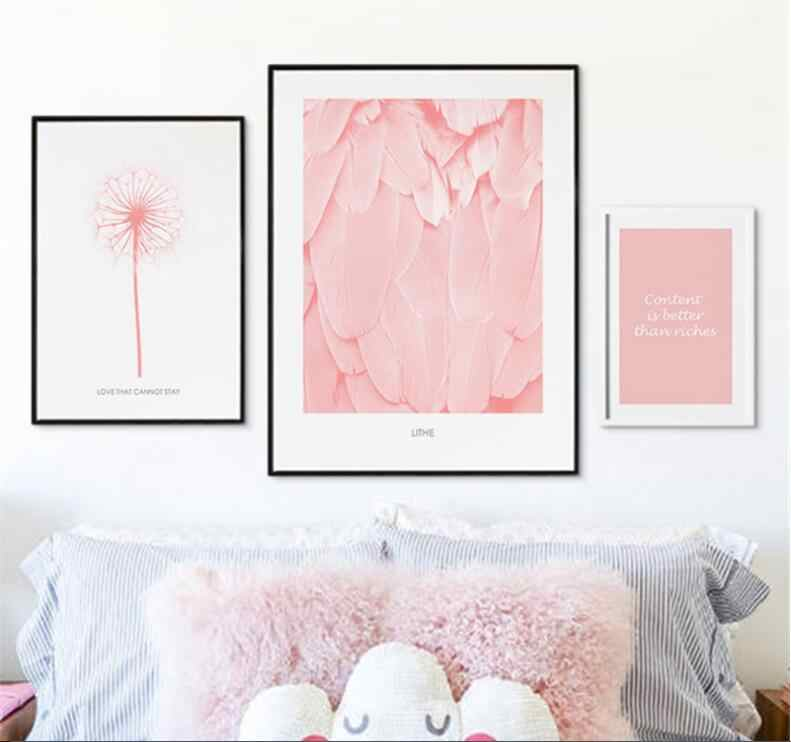 Nordic Pink Flower plant Leaf Dandelion Posters And Prints Wall Canvas  Painting Abstract Wall Photo For Living Room Unframed