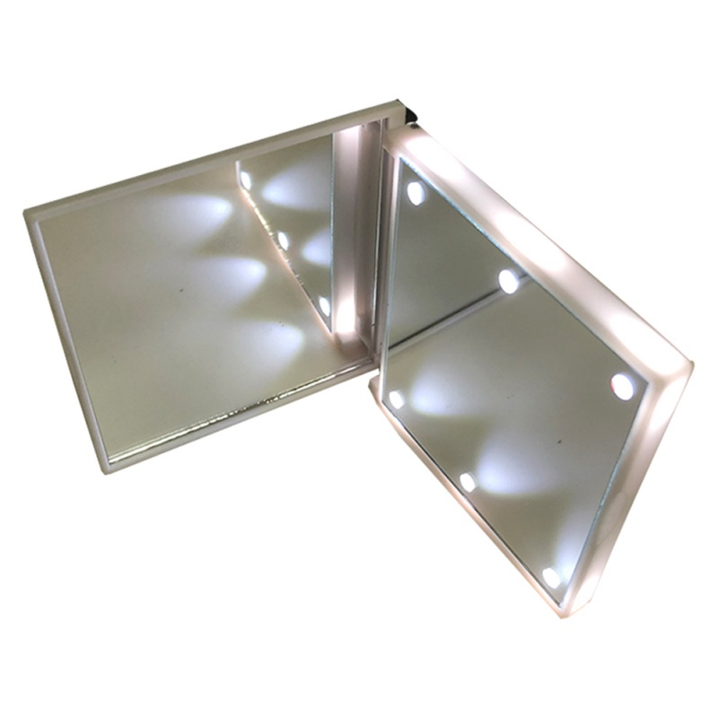 Makeup Mirror With 6 LEDs Cosmetic Touch Dimmer Switch Battery Operated Stand Square Mirrors