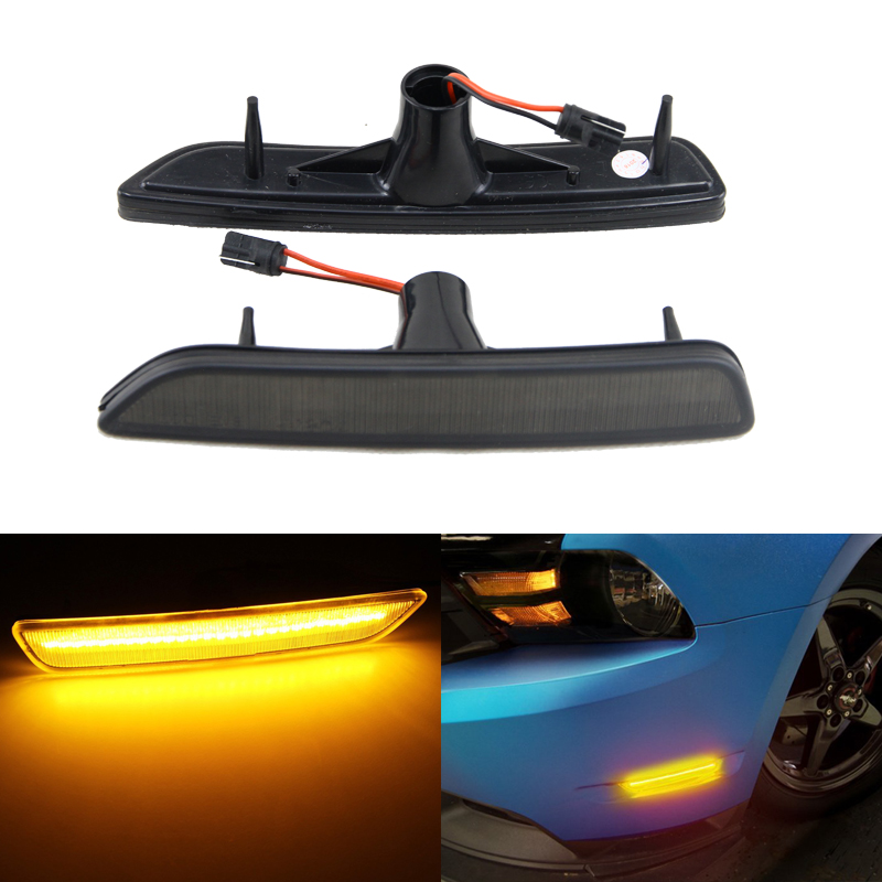 2PCs Smoke Lens Amber Led Front Side Marker Light Lamp For Ford Mustang 10-14 Brand New Car Styling Led Sider Marker Lights 1pair led side maker lights for jeeep wrangler amber front fender flares parking turn lamp bulb indicator lens