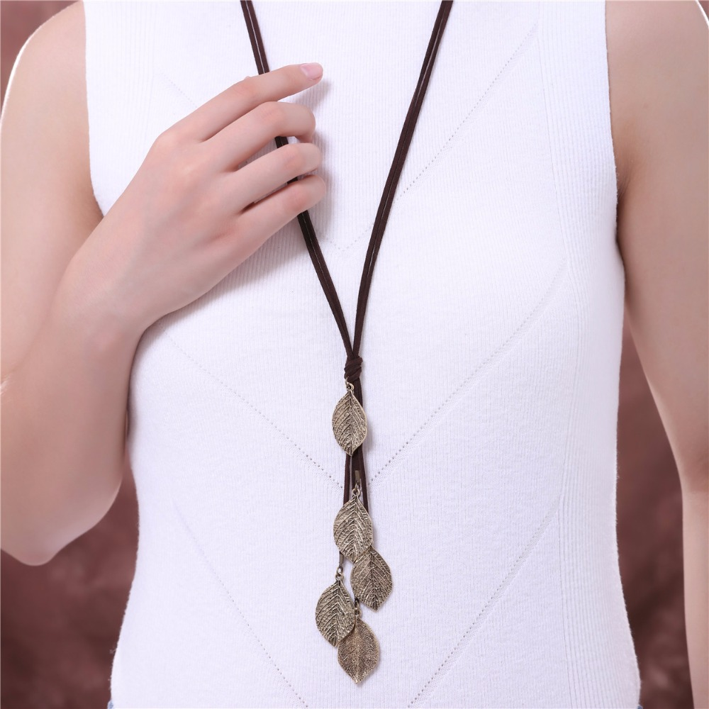 Long Necklace Women Jewelry Vintage multi Leavies necklaces pendants Fashion Cotton Chain Women Necklace relogio choker colar in Pendant Necklaces from Jewelry Accessories