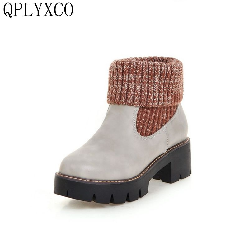 QPLYXCO 2017 New Big Size 34-43 Platform Winter Boots High Heels Shoes Women Round Toe Thick bottom Fur Boots 12966 new fashion winter boots wool flock shoes women boots platform thick high heels mid calf boots two swear big size 34 43 0715