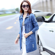Women Coat Autumn Casual Oversize Long Sleeve Turn-down Collar Denim jacket