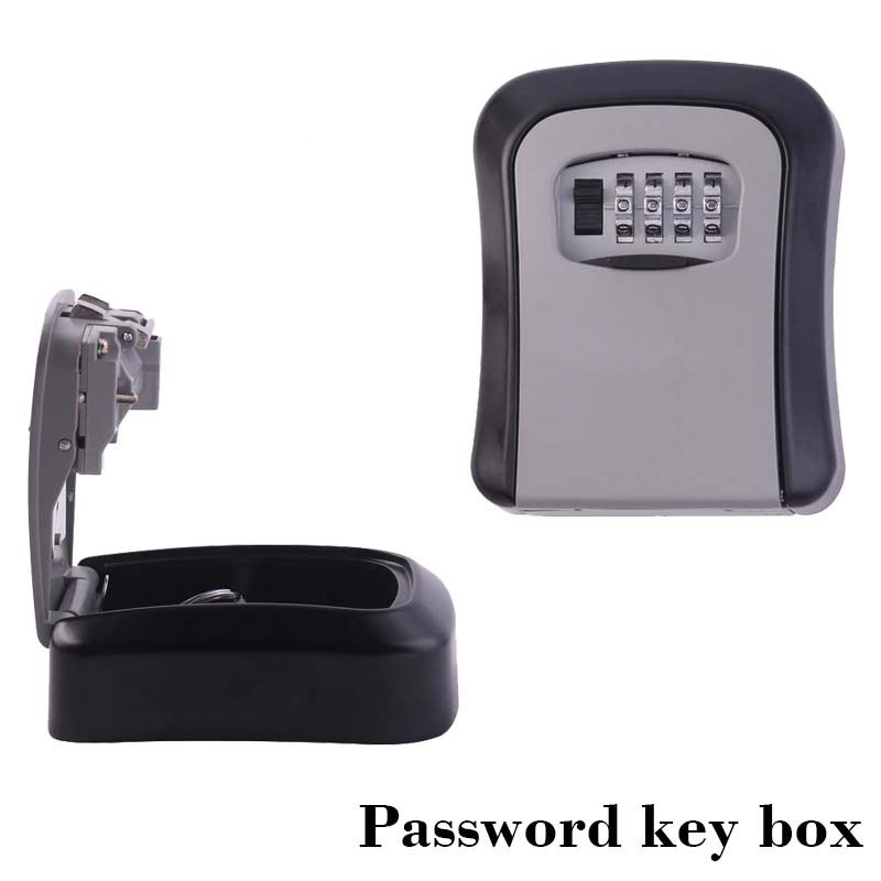 Wall Mount Key Storage Secret Box Organizer Safe Security Door Lock With 4 Digit Combination Password Zinc Alloy Caja Fuerte(China)