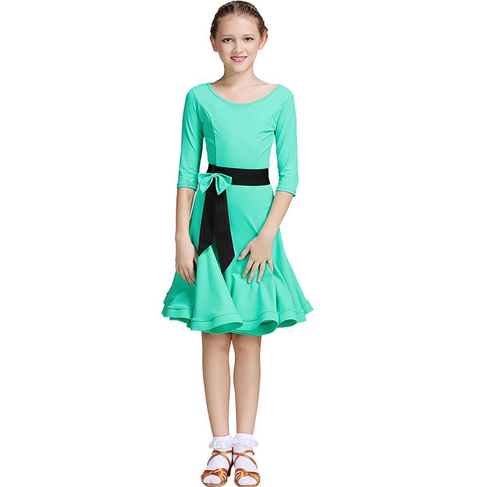 Professional Latin Dance Dresses For Rose blue Green Multi Size School Girl Exam Dresses Kids Ballroom Showing Chacha Suit I094