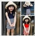 Envío gratis nuevo 2015 vestido de las muchachas, niños vestido de verano, los niños vestido del chaleco de rayas, niños ropa de bebé niña vestido 3T ~ 8