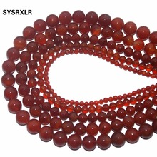 Wholesale Natural Round Red Agat Stone Beads For Jewelry Making DIY Bracelet Necklace Material 4/ 6/8/10/12 MM Strand 15''