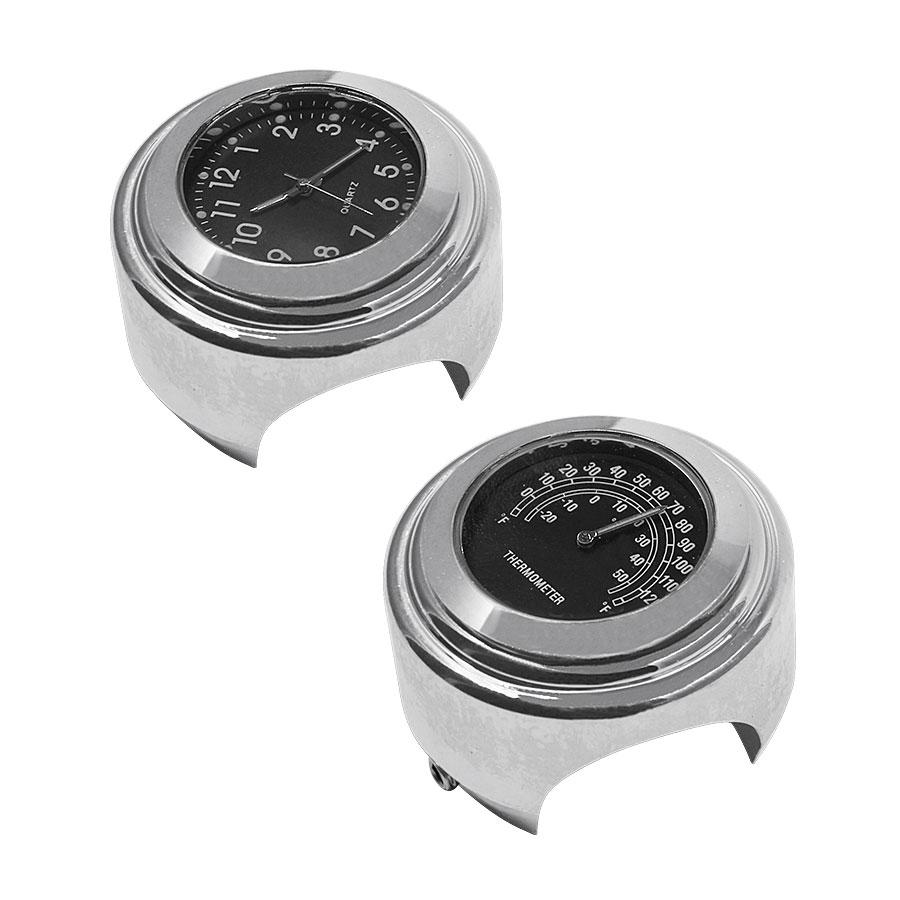 2PCS/Set Universal Waterproof 7/8 Motorcycle Handlebar Black Dial Clock Watch Temp Thermometer For YAMAHA Harley Free Shipping 23
