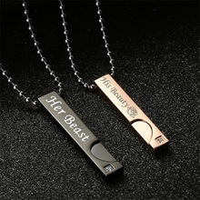 Angel & Demon Couple Necklaces Beauty & Beast Pendant Necklace for Lover King & Queen Christmas Gift