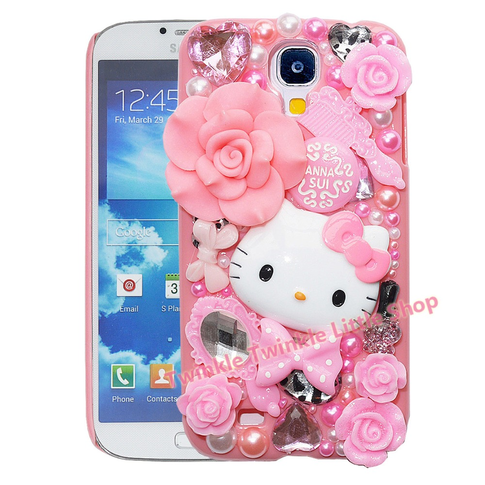 Cute Fashion Hello Kitty Pearl Crystal Plastic Case For