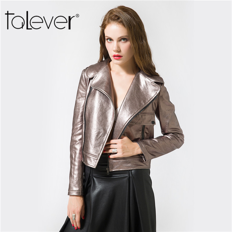 Talever 2017 New Autumn PU   Leather   Jacket Faux Soft   Leather   Coat Women's Short Washed PU   Leather   Jacket Street Zipper Outwear
