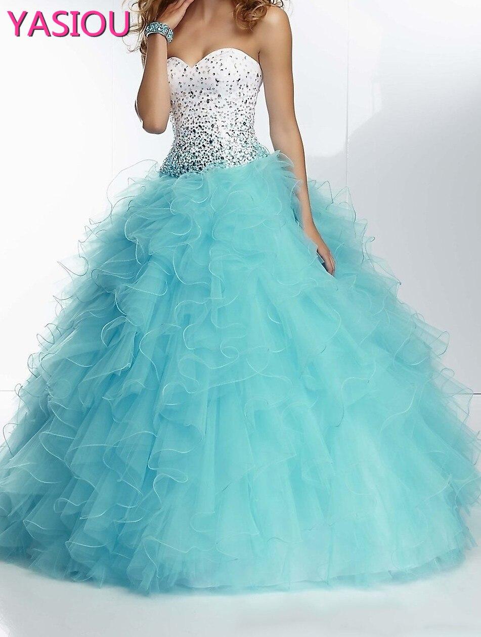 Robe chaude Quinceanera 2019 nouveau sur mesure blanc et violet cristal volants organz robe de bal robe de soirée robe Quinceanera dresse