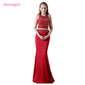 Red Evening Dresses 2017 Mermaid Halter Beaded Crystals Two Pieces Open Back Women Long Evening Gown Prom Dress Robe De Soiree