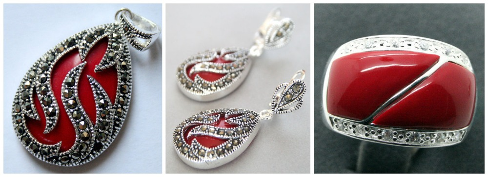 Perfect matched Red Carved Lacquer Marcasite 925 Sterling Silver Ring(#7-10) Earrings & Pandent jewelry setsPerfect matched Red Carved Lacquer Marcasite 925 Sterling Silver Ring(#7-10) Earrings & Pandent jewelry sets