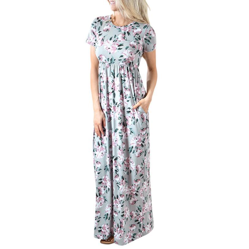 snowshine YLI Women Summer Short Sleeve Dress Floral Printing O Neck Long Dress free shipping