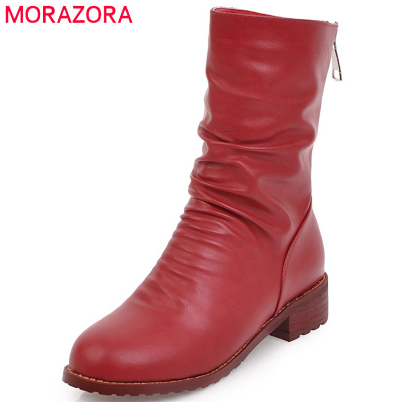 MORAZORA Large size 34-43 ankle boots for women PU soft leather med heels shoes woman fashion boots female solid zip memunia big size 34 44 high heels shoes woman pu soft leather platform boots female zip solid ankle boots for women round toe