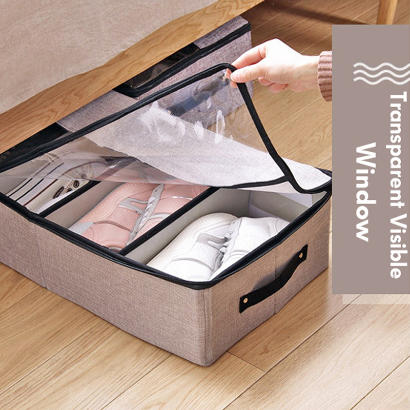 BR 4 Grid Shoe Box with Transparent Window Washable Non woven Foldable Stackable Shoes Organizer Dustproof Drawer Home Storage in Storage Boxes Bins from Home Garden