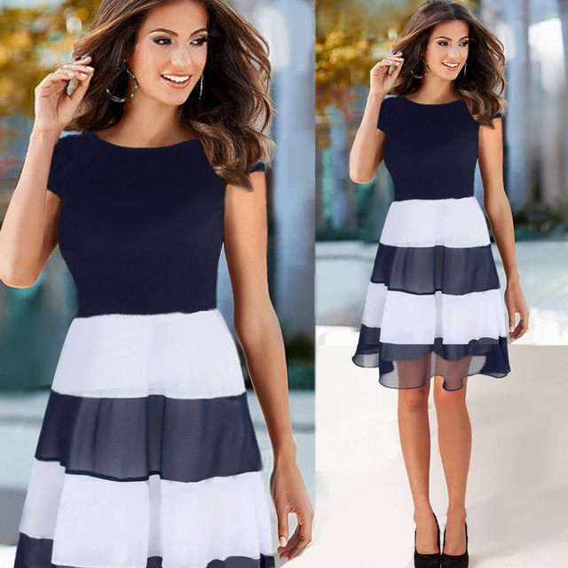 89f043b4d3 New Design Fashion Womens Dress Casual Stripe Women O-neck Sleeveless  Patchwork Maternity Dresses Lady