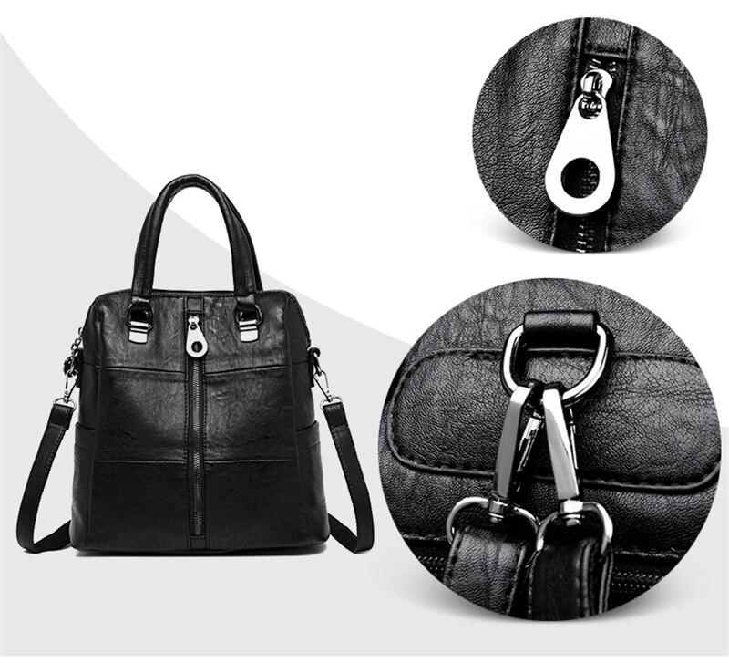 HTB1Wsbldi6guuRjy1Xdq6yAwpXas 3-in-1 Women Leather Backpacks Vintage Female Shoulder Bag Sac a Dos Travel Ladies Bagpack Mochilas School Bags For Girls Preppy