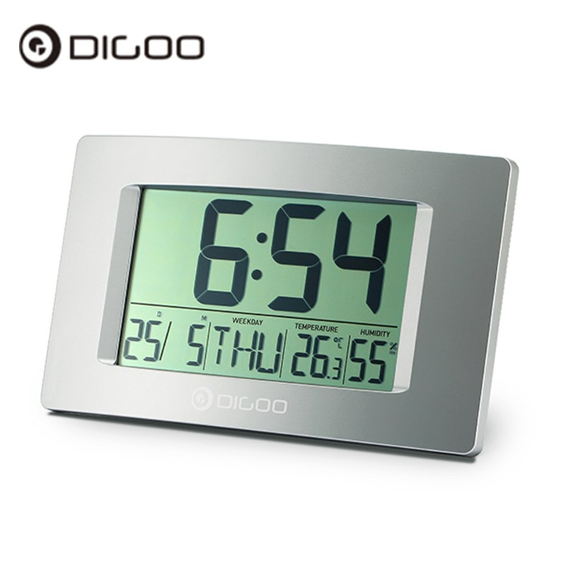Digoo DG-GC1 8.7 Large LCD Screen Indoor Thermometer Hygrometer Weather Station Digital Clock Wall Clock 3d diy wall clock large table clock led digital automatic sensor light jumbo wall clock huge screen display white