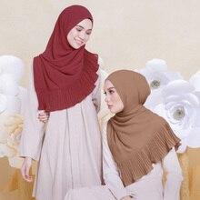 Ruffle Chiffon Silk Summer Scarf for Women Crinkle Hijab Fashion Lady Muslim Bandana Female Long Scarves 185*70cm