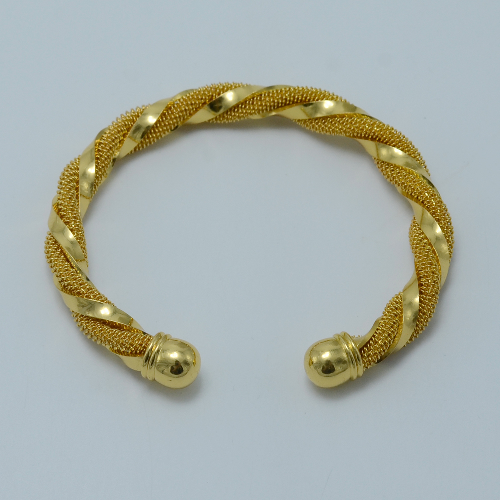 Gold Bangle for Women, Gold Color African Bangle and Bracelet Arab/Ethiopian Jewelry Fashion #003806