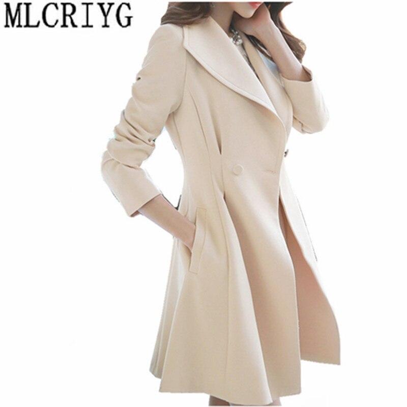 2019 Korean Slim Women's Windbreaker Medium Long   Trench   Coat Female Spring Slim Coats Office Outerwear casaco feminino YQ047
