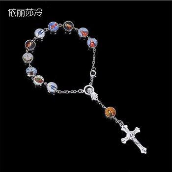 Jesus Cross Bracelet Jesus Jewelry Catholic Rosary Mercy Holy Religious Icon Beaded Bracelet