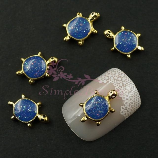 20pcs/lot Cute Sea Turtle Glitter Navy Blue Gold Tone 3D Alloy ...