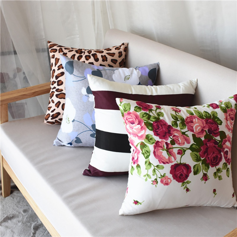 Home Pillow Case Soft Plush Printed Pillowcase Kussensloop Floral Stripes Fronha Almohada Kussen Hoesjes For Home Office 40*40cm