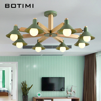 BOTIMI Lustre LED Chandelier For Living Room New Chandeliers Lighting Wooden Hanging Light Lustres Lampshade Kitchen