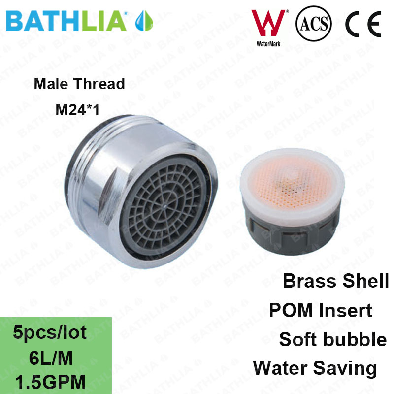 M24 Male Thread Kitchen Basin Faucet Aerator Water Saver Soft Bubble Faucet  Spout Aerator 1.5GPM Tap Nozzle Spray Aerator