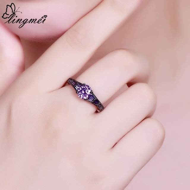 Lingmei Wholesale Wedding Bride Classic Jewelry RoundPurpleRed Zircon Silver Color Black GoldRing Size 6-9 2