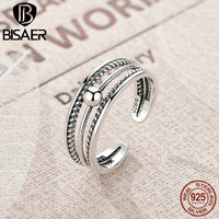 BISAER Real 100 925 Sterling Silver Vintage Twist Of Fate Stackable Ring For Women Sterling Silver