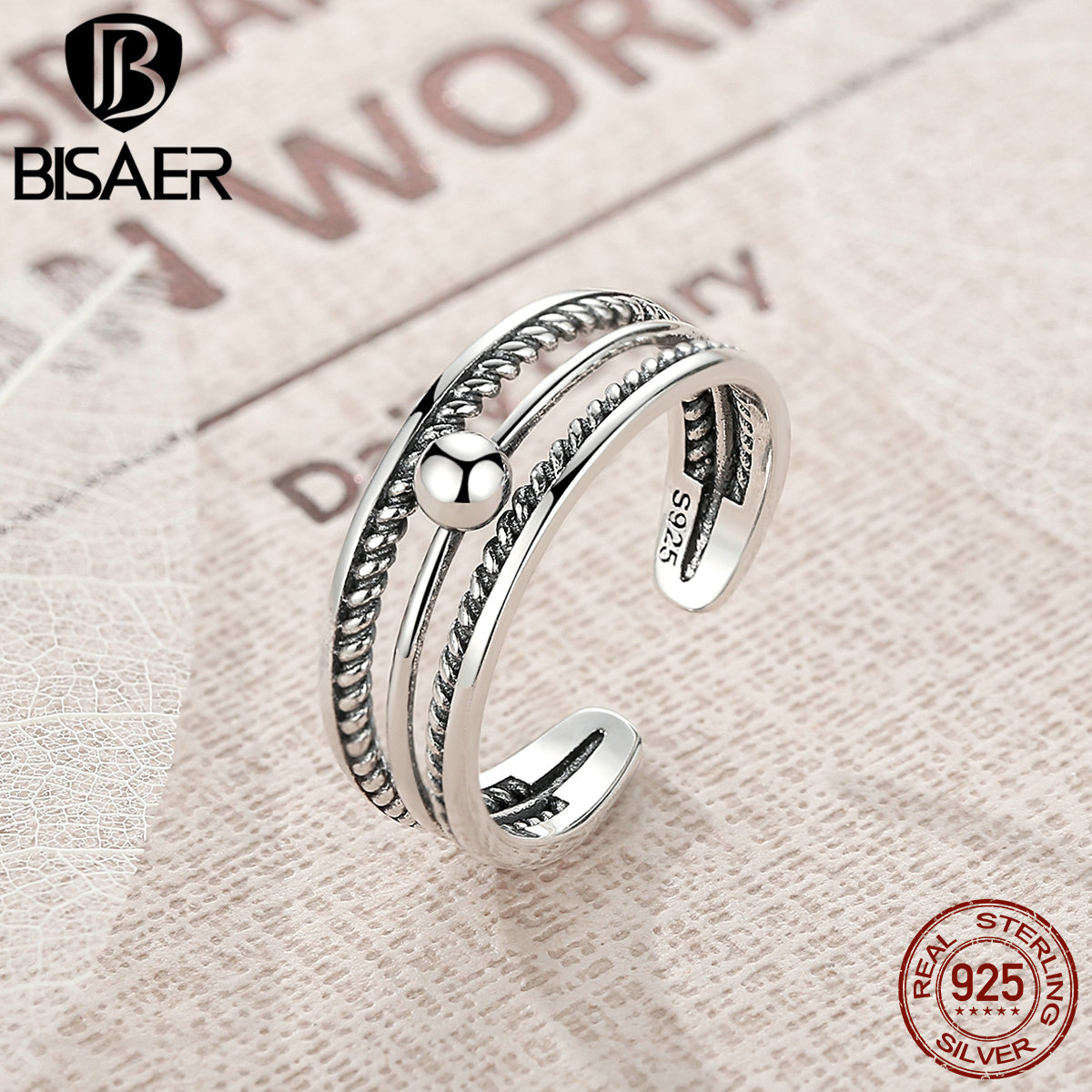 BISAER 100% 925 Sterling Silver Vintage Cross Star Feather Wings Female Finger Rings for Women Sterling Silver Jewelry S925