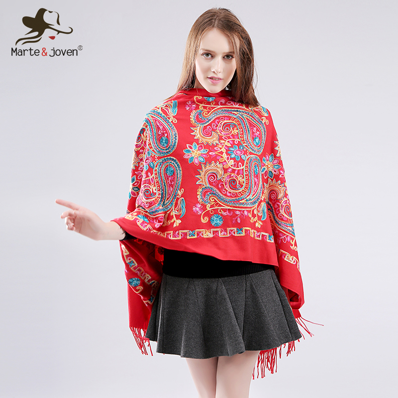 Marte&Joven Classic Floral Embroidery Fringed Oversized Imitation Cashmere Pashmina   Scarves   Winter Fashion Red Long   Scarf     Wrap