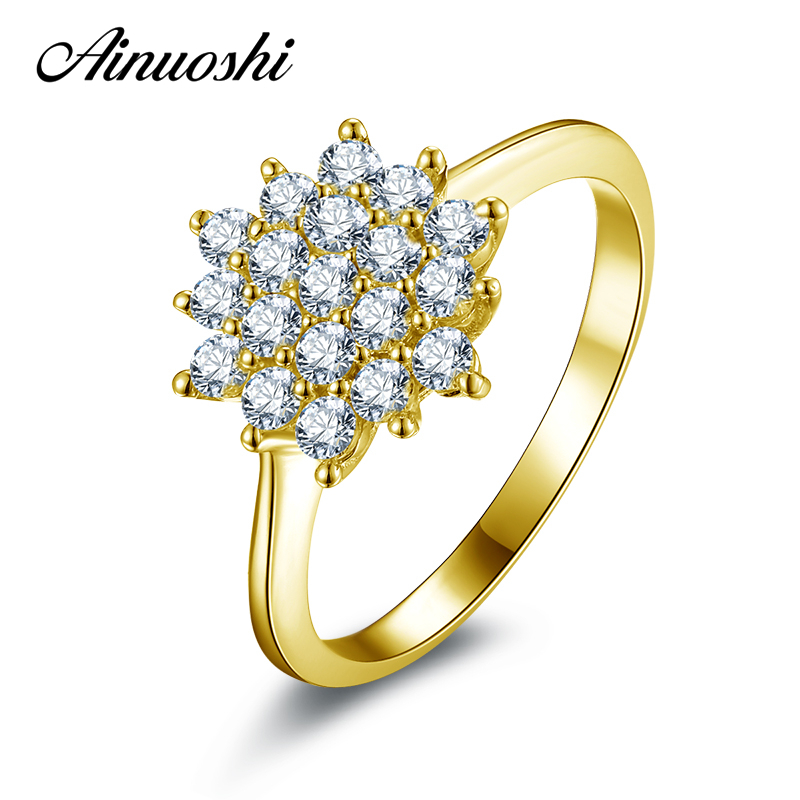 AINUOSHI 10K Solid Yellow Gold Wedding Ring Sona Simulated Diamond Jewelry Lady Anillos New Flower Shape Women Engagement Rings ainuoshi 10k solid yellow gold wedding ring sona simulated diamond jewelry lady anillos new flower shape women engagement rings