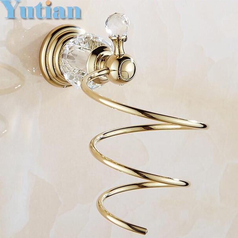 gold Crystal Bathroom Wall Shelf Wall-mounted Hair Dryer Rack Storage Hairdryer Support Holder Spiral Stand Holder YT-12899