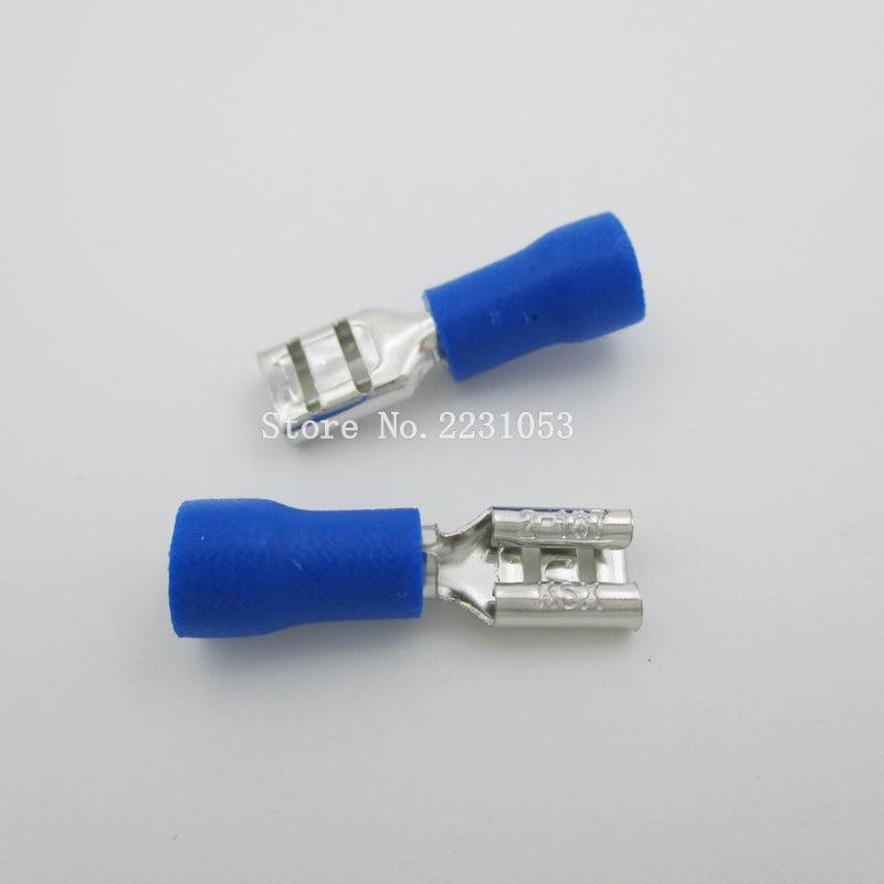 50 قطعة/الوحدة FDD2-187 العازلة الإناث معزول الكهربائية تجعيد موصلات الطرفية سلك كابل موصل