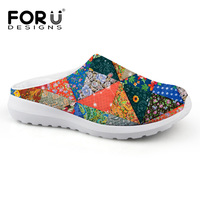 2019 Casual Women Shoes Breathable Sandals Vintage Flower Printing Sandalias Clogs Women Outdoor Flats Slipper Zapatillas Mujer