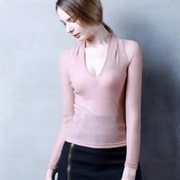 2018 new fashion women t shirt autumn vestidos sexy V neck mesh bottoming bright silk long sleeves Tees