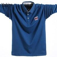 2019 Men Business Casual POLO Shirt Spring and Fall Cotton Lapel Men Long Sleeve POLO Shirt Male Plus Size Coat 3XL 4XL 5XL
