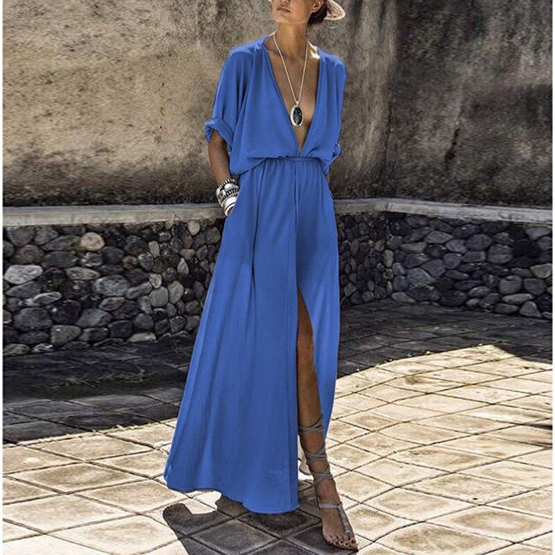 For V Neck Asymmetric Hem Geometric Maxi Dresses from india history