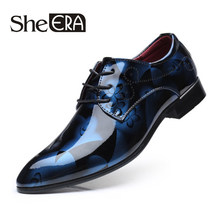 Plus size 38-48 Fashion Italian Designer Formal Mens Dress Shoes Patent Leather Blue Luxury Wedding Shoes Men Flats Office Drop(China)