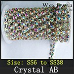 Crystal AB Rhinestone Chain Silver Base xz020